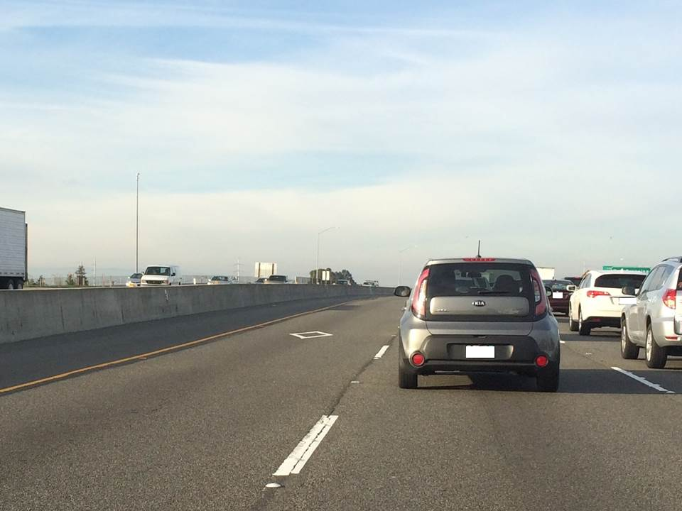 (Morning commute in California. The left lane is the HOV lane.)